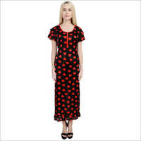Designer Heart Printed Satin Nightdress