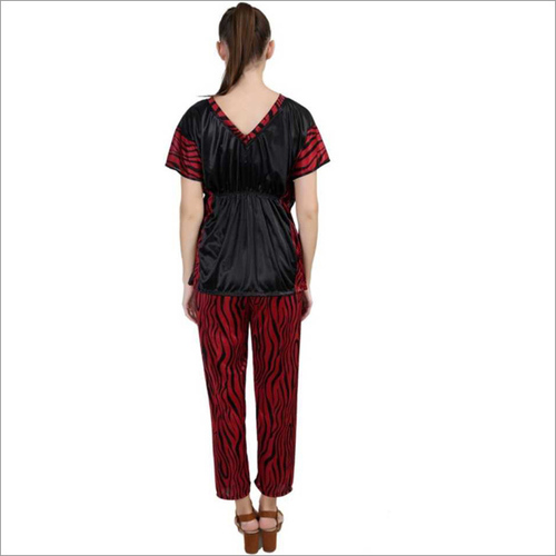 Women's Striped Maroon Night Suit