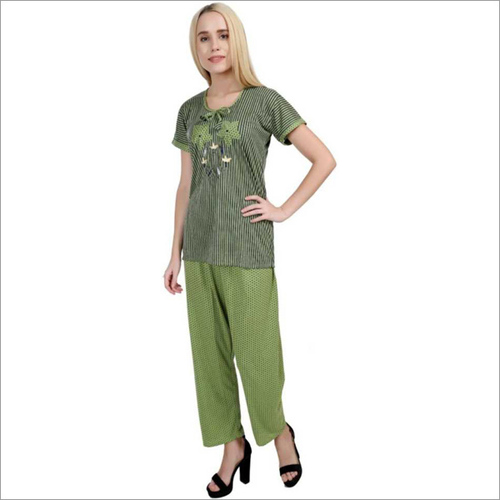 Women's Striped Green Night Suit