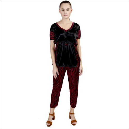 Women's Striped Red Night Suit