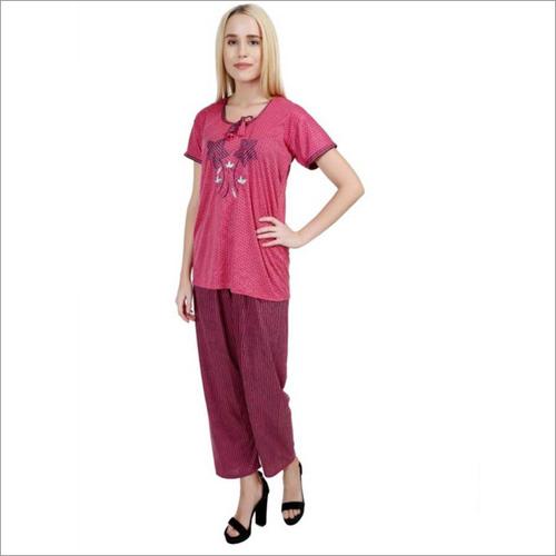 Women's Striped Pink Night Suit Set