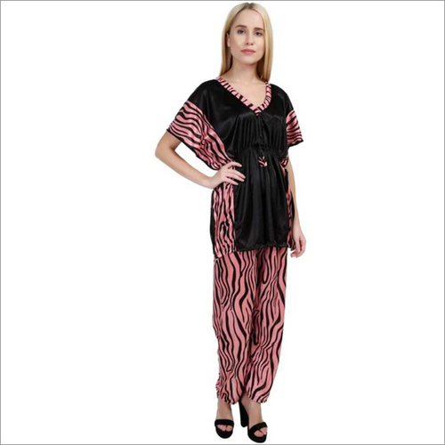 Women's Striped Pink Night Suit Set