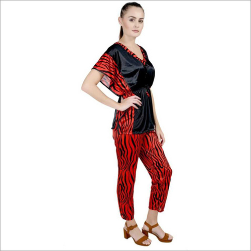 Women's Striped Orange Night Suit Set