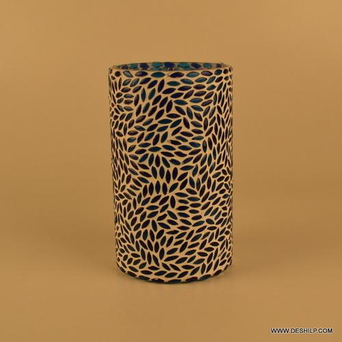Blue & White Mosaic Glass Floor Vase