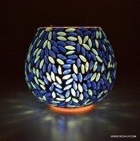BLUE MOSAIC GLASS DECOR CANDLE HOLDER