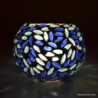 BOWL SHAPE GLASS MOSAIC CANDLE HOLDER