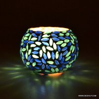 BLUE MOSAIC COLOR AND DESIGN CANDLE HOLDER