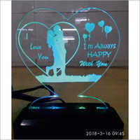 3D LED Heart Shape Lamp With Stand