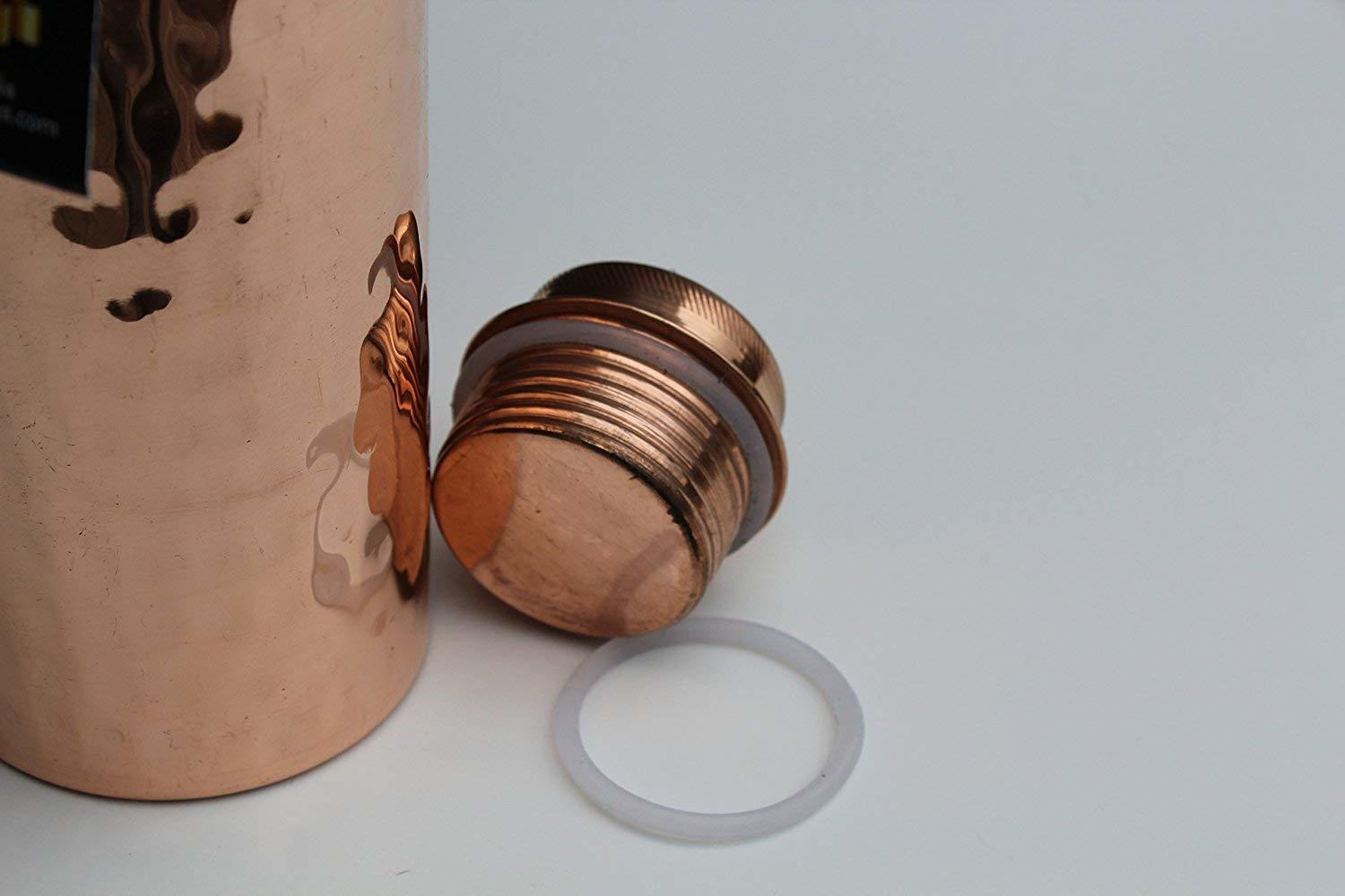 Hammered Copper Stylish Q7 Bottle Joint Free with Ayurveda benefited 100% pure & Leak Proof Bottle