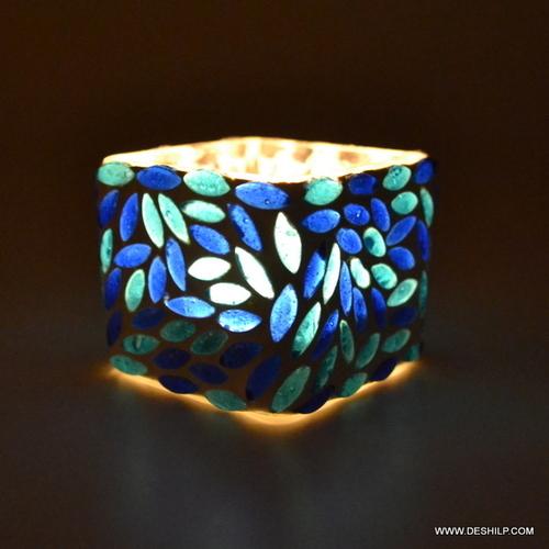 SQUIRE GLASS MOSAIC CANDLE T-LIGHT VOTIVE