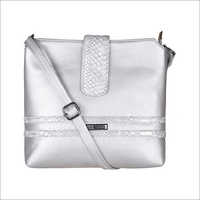 Solid Pattern Lucy Silver Sling Bag