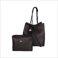 Solid Pattern Vinyl Brown Handbag With Pouch