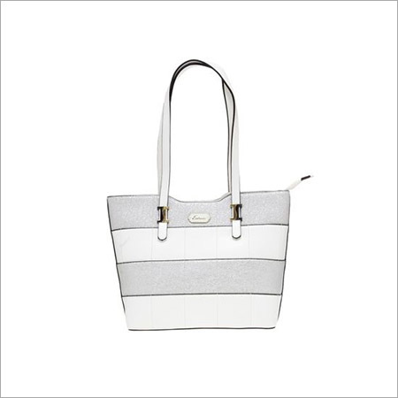 Ladies White And Grey Handbags