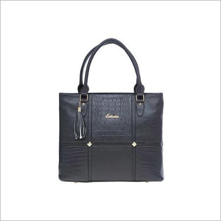 Ladies Solid Pattern Black Handbags