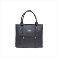 Ladies Solid Pattern Black Handbags