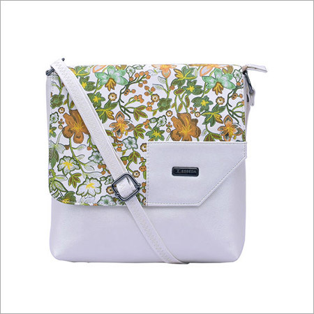 Floral Pattern Off White Sling Bag