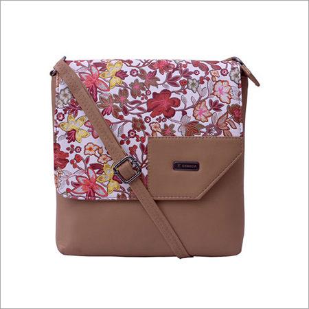 Floral Pattern Beige Sling Bag
