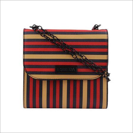 Ladies Red & Multi Line Sling Bag