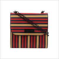 Ladies Red & Multi Line Sling Bag