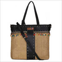 Women Brown Color BIG Size Gold Jute Tote Bag