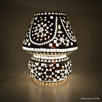 Black & White Mosaic Style Dome shaped Glass Table Lamp