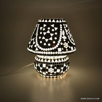 SMALL BLACK & WHITE GLASS MOSAIC TABLE LAMP