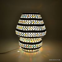 Black & White Mosaic Glass Table Lamp