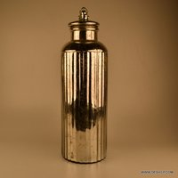 LONG GLASS SILVER JAR WITH LID