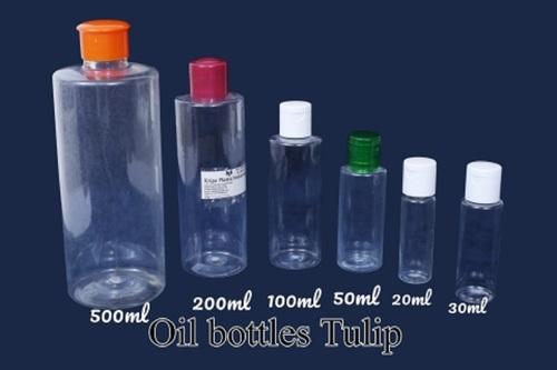Plastic Transparent Tulip Oil Bottles