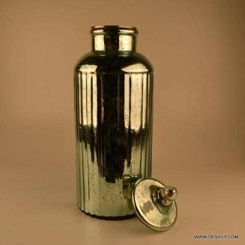Long Glass Silver Jar