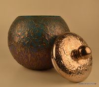 Decorated Glass Silver Jar