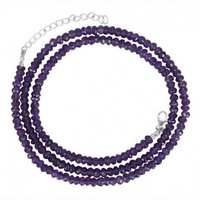 Natural Amethyst 3-4mm Faceted Rondelle Bead Necklace
