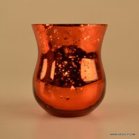 RED GLASS SILVER CANDLE HOLDER