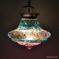 Decorated Circular Silver Glass Hanging Lamp