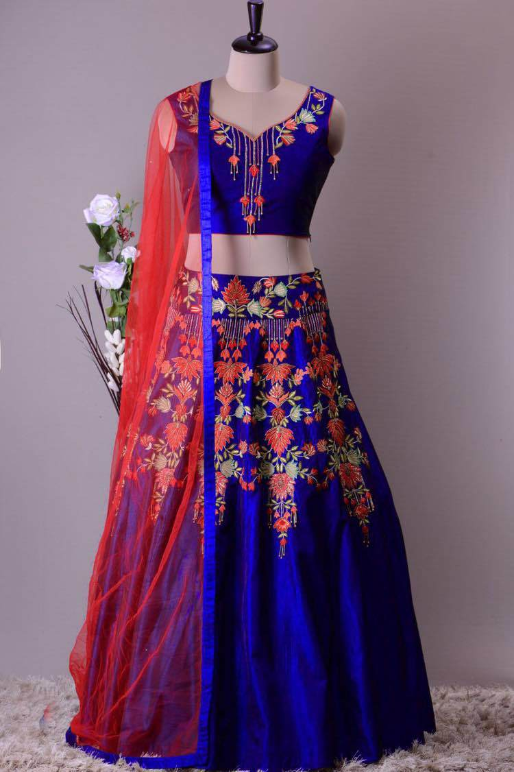 Designer Heavy Embroidered and Handwork Bride Mulbarry Lehenga