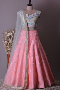 Designer Heavy Embroidered and Handwork Bride Mulbarry Lehenga