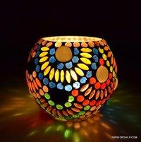 Glass Round Shape Tea Light Stand Home Decor Candle