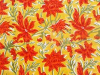 ORANGE COLOR FLORAL FABRIC DESIGN