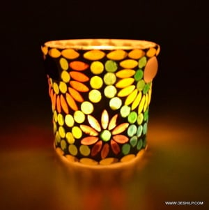 Glass Candle Holder Glass and Mirror Candle Holder