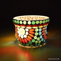 Multi Color Designer Glass T Light Votive Holder