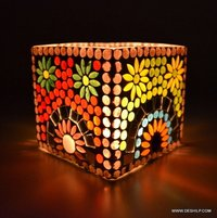SQUIRE GLASS MOSAIC CANDLE VOTIVE