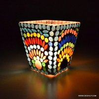 Handpainted Work Design Glass Votive Candle Holder Home Decoration Mosaic Glass Candle Holder Centerpiece Diwali Home Decoration