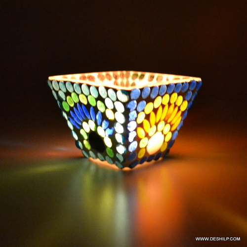 Home Decoration Mosaic Glass Candle Holder Centerpiece Diwali Home Decoration