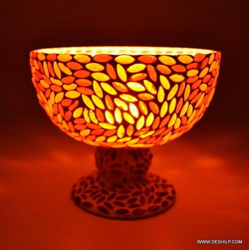 HURRICANE SHAPE GLASS MOSAIC CANDLE HOLDER