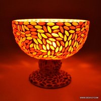 HURRICANE SHAPE GLASS MOSAIC CANDLE HOLDER