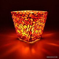 Mosaic Glass Candle Holder Traditional Indian Designer