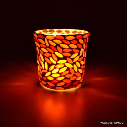 RED COLOR EFFECT GLASS MOSAIC VOTIVE HOLDER