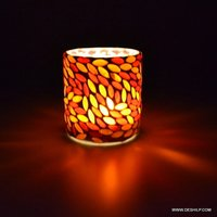 RED MOSAIC T LIGHT CANDLE VOTIVE