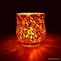 Red Color Designer Glass Mosaic Candle