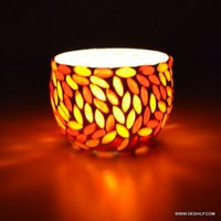 Red & Yellow Mosaic Glass Candle Holder